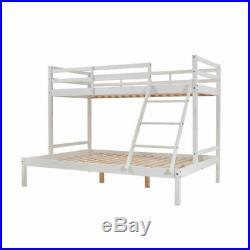 Triple Sleeper Bunk Bed Frame Solid Wood Pine 3FT & 4FT6 Slatted Bedstead White