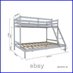 Triple Sleeper Bunk Bed Frame Solid Wood Pine Slatted Bedstead 3FT 4FT6 in Grey