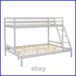 Triple Sleeper Bunk Bed Frame Wood Pine Slatted Bedstead 3FT 4FT6 in White/Grey
