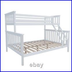 Triple Sleeper Bunk Bed In White With Headboard Double & Single Bed Kids Wooden