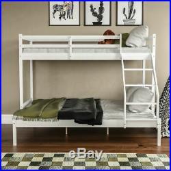 Triple Sleeper Bunk Bed Pine Wooden Frame Kids Double & Single 4FT6 3FT White