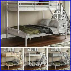 Triple Sleeper Bunk Bed Solid Pine Wood Frame Kids Double & Single 4FT6 3FT