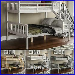 Triple Sleeper Bunk Bed Solid Wood Frame Childrens Kids Double & Single 4FT6 3FT