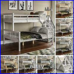 Triple Sleeper Bunk Bed Solid Wood Frame Kids Childrens Double Single 3FT 4FT6