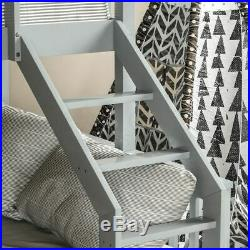Triple Sleeper Bunk Bed Solid Wooden Frame Kids Double & Single 4FT6 3FT Grey