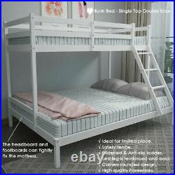 Triple Sleeper Bunk Bed Solid Wooden Frame Kids Double & Single 4FT6 3FT White