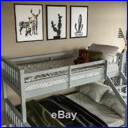 Triple Sleeper Bunk Bed Solid Wooden Frame Ladder Single & Double 3FT 4FT6 Grey