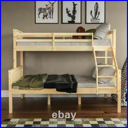 Triple Sleeper Bunk Bed Solid Wooden Frame Ladder Single & Double 3FT 4FT6 Pine