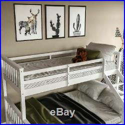 Triple Sleeper Bunk Bed Solid Wooden Frame Ladder Single & Double 3FT 4FT6 White
