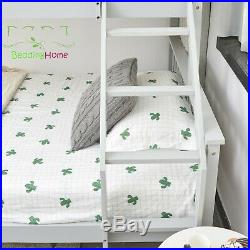 Triple Sleeper Pine Wood Bunk Bed 3ft And 4.6ft White & Silk Grey Kids & Adult