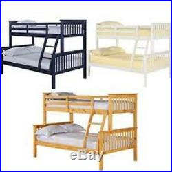 Triple Trio Childrens Kids Bunk Bed 4ft Double & 3ft Single Separable Wood