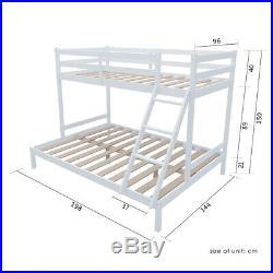 Triple Wooden Bunk Bed Frame 4ft6 Trundle + 3ft Upper Bed Frame Kids White Pine