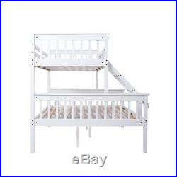 Triple Wooden Bunk Bed Frame Children Kids Adults White Solid Pine Bedstead UK