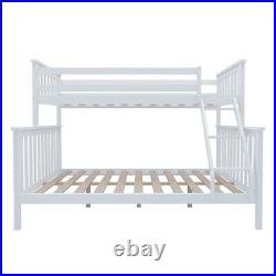 UK Double Bed Triple Bunk Bed Frame Split Into 2 Beds with Stairs Twins Adult Kids