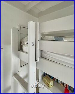 Used white wooden Flexa bunk bed / high-sleeper + desk + shelves + drawers