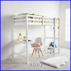 VonHaus High Sleeper Bunk Bed Cabin With Desk Wooden Pine Frame 3FT White