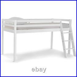 VonHaus Mid Sleeper Bed Frame Single White Bunk Cabin Bed with Ladder Wooden