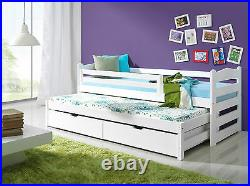 WHITE -CHARLIE bunk bed WOODEN CAPTAINS BED WITH MATTRESSES AND STORAGE DRAWERS