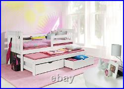 WHITE -Sara bunk bed WOODEN CAPTAINS BED WITH MATTRESSES AND STORAGE DRAWERS
