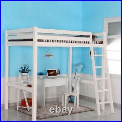 White 3FT High Sleeper Cabin Bed Adult/Kids Loft Bed Wood Bunk Bed with Ladder NEW