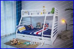 White Triple Sleeper Bunk Bed Frame wooden Pine for children also in Grey