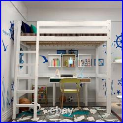 White Wood 3FT Single Bed High Sleeper Cabin Bunk Bed Loft Bed Left/Right Ladder