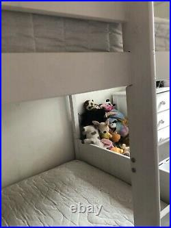 White Wooden Bunk Beds With Two Mattresses And Trundle