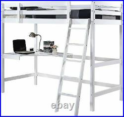White Wooden Study High Sleeper Bunk Bed Frame with Desk