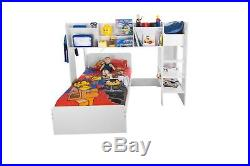 Wizard White Wooden L Shape Bunk Bed Frame 3FT Single With Shelf Storage