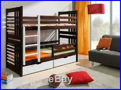 Wood Bunk Bed Double Kids High Cabin Sleeper Children Bedroom 2 Sizes Mattresses