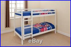 Wooden Bunk Bed Kids Childrens 3ft Single with 2 Tanya Matresses in white pine