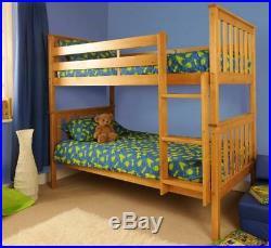 Wooden Bunk Bed childrens kids Pine White Grey 3ft Wembdon