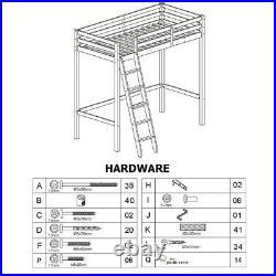 Wooden Frame Cabin Bed High Sleeper Bunk Children Kids Ladder Bedframe Tall Beds