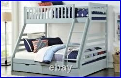 Wooden Triple Sleeper Bunk Bed Frame Grey Wood with DrawersFast Dispatch